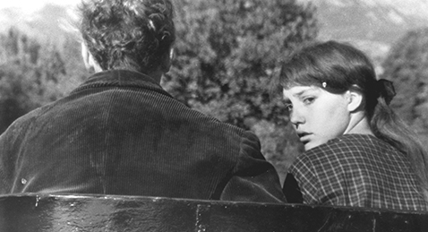 Still image of man and young girl from the film Au Hasard Balthazar.