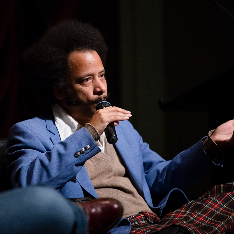 Boots Riley on stage at IU Cinema during his Jorgensen lecture