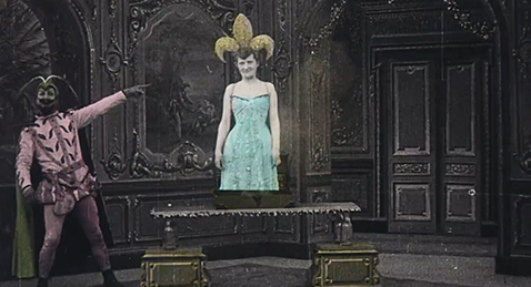 Still image of a jester and a women from the program The Films of Brinton.