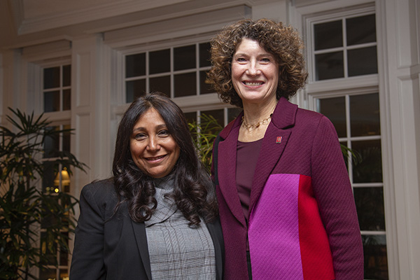 Haifaa al-Mansour and IU First Lady Laurie Burns McRobbie pose for a photo at Bryan House.
