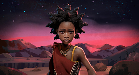 Still image of a young black girl from the animated film Liyana.