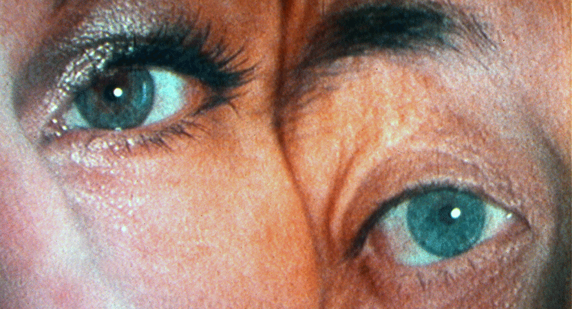 a close up image of two eyes from the short film program Barbara Hammer: The Middle
