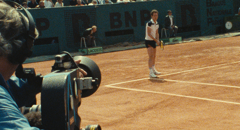 John McEnroe on the tennis court from the film John McEnroe: In the Realm of Perfection