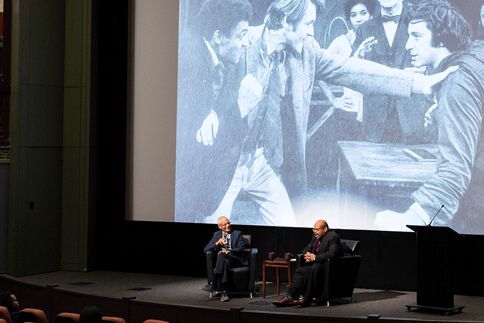 Michael Schultz talked on stage during his Jorgensen Guest Filmmaker visit.