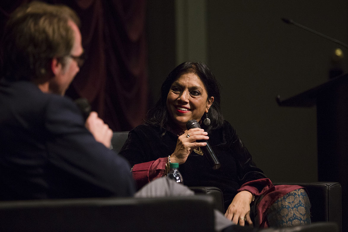 Mira Nair talks with IU Cinema Director Jon Vickers during her Jorgensen lecture at IU Cinema.