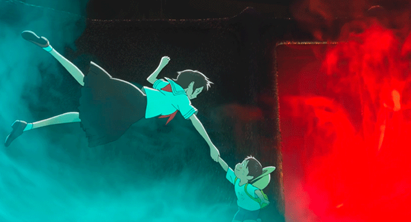 animated image of a women floating reaching out for a child from the film Mirai (Future).