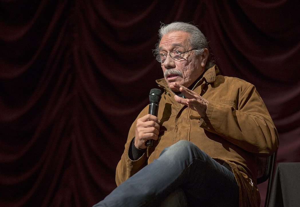 Edward James Olmos on stage at the IU Cinema.