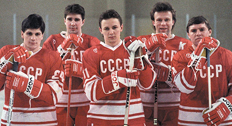 Still image of players from the Russian hockey team from the film Red Army.