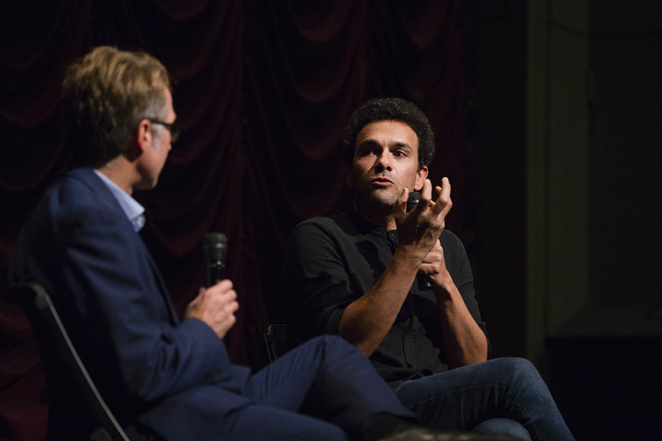 Tamer El Said on stage with Jon Vickers during his Jorgensen Guest Filmmaker program.