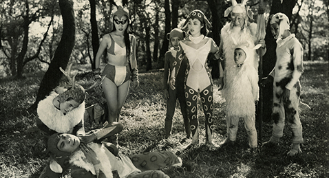 Still image of people in animal costumes from the film The Fantasy of Deer Warrior.