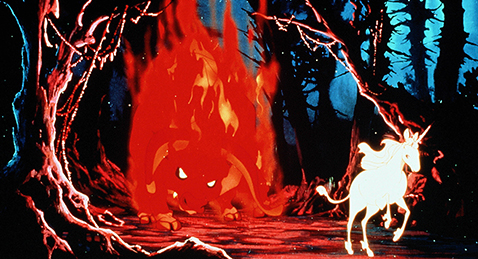 Still image of a unicorn running from a fire monster from the film The Last Unicorn.