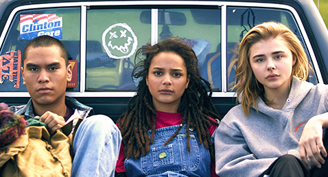 Still image of three teens in the back of a truck from the film The Miseducation of Cameron Post.