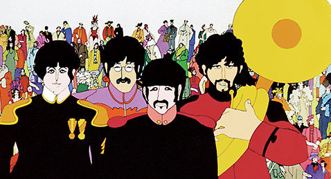 Animated Still image of The Beatles From the film Yellow Submarine.