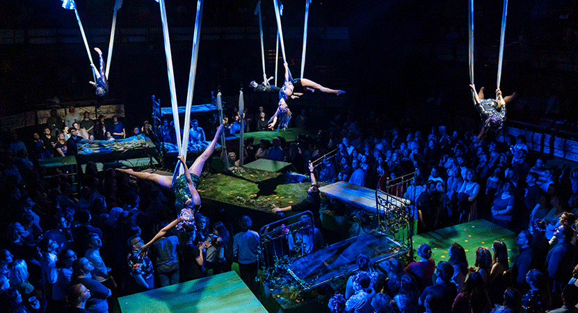 Ariel dancers perform around a audience from the national theatre live production of A Midsummer Night's Dream.