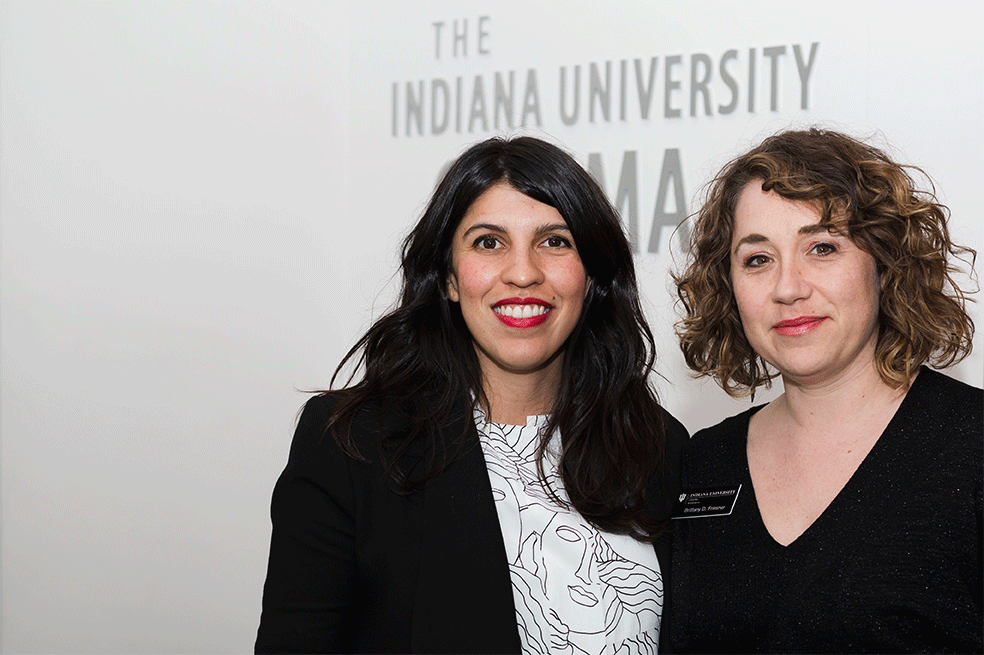 Alejandra Marquez Abella and Brittany D. Friesner at IU Cinema.