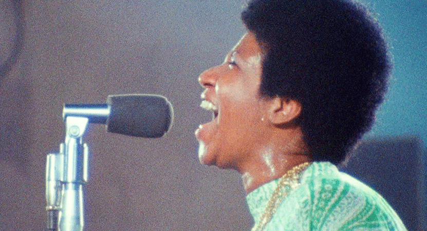 Image of Aretha Franklin singing from the film Amazing Grace.