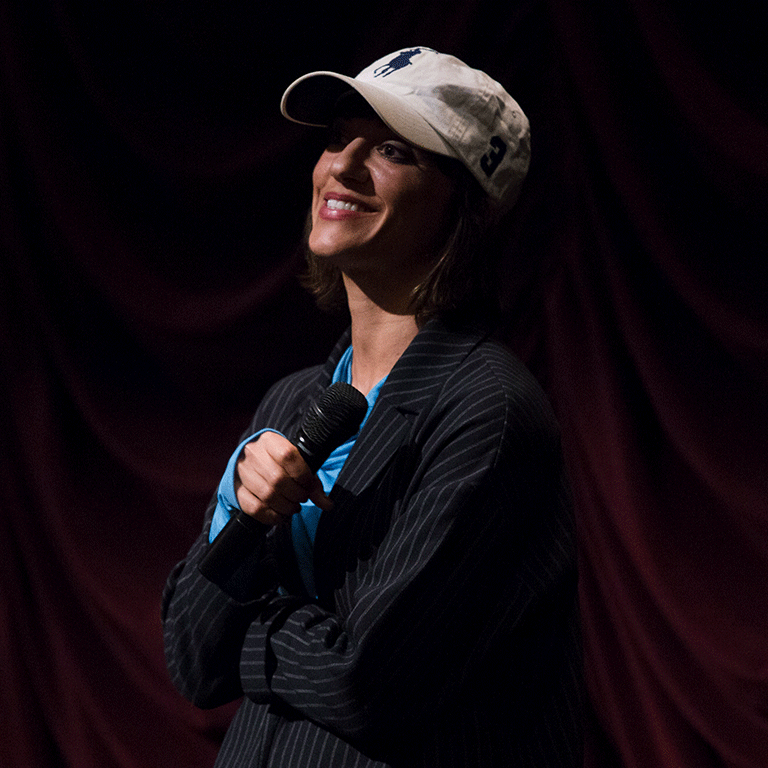 Ana Lily Amirpour on stage at IU Cinema.