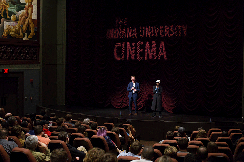 Ana Lily Amirpour and Founding Director Jon Vickers on stage at IU Cinema