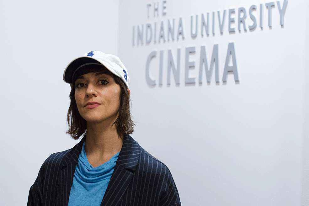 Ana Lily Amirpour in the lobby of IU Cinema