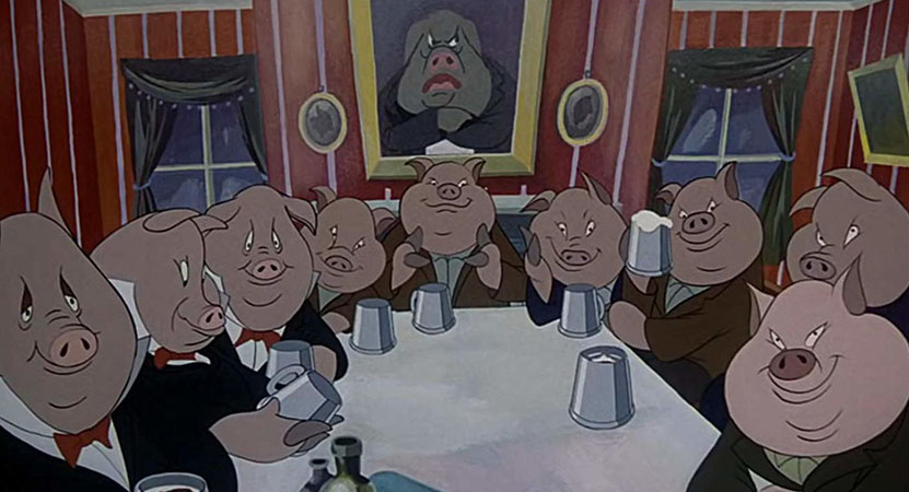 Still image from Animal Farm.