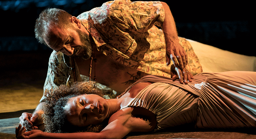 a man lays over a woman from the national theatre live production of  Antony & Cleopatra.