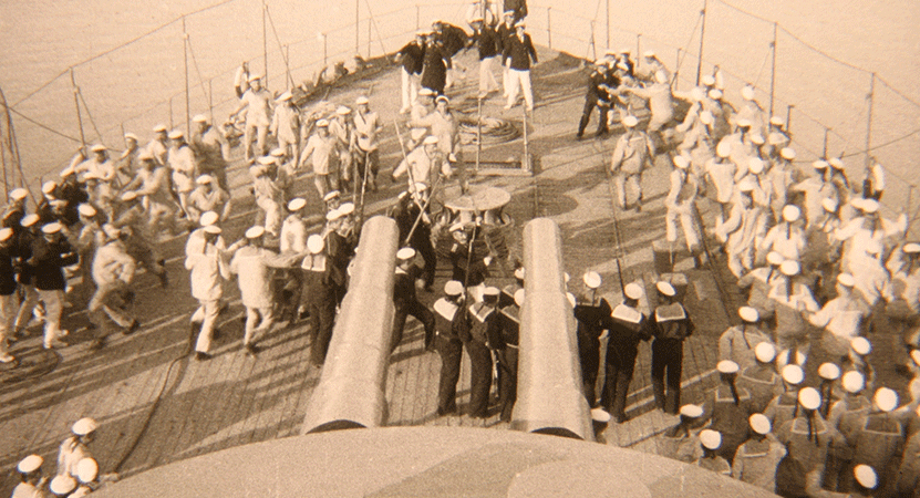 men on the deck of a ship from the film Battleship Potemkin