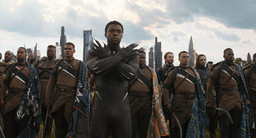 the Black Panther and his army stand ready to fight from the film Black Panther