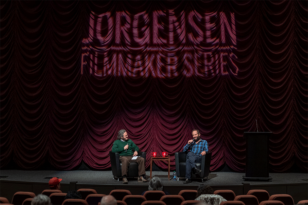 Carlos Reygadas on stage with Assistant Professor Jonathan Risner during is Jorgensen Guest  Filmmaker event at IU Cinema.