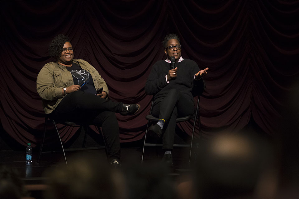 Cheryl Dunye Answers a question from the audience during her Jorgensen Guest Filmmaker event.