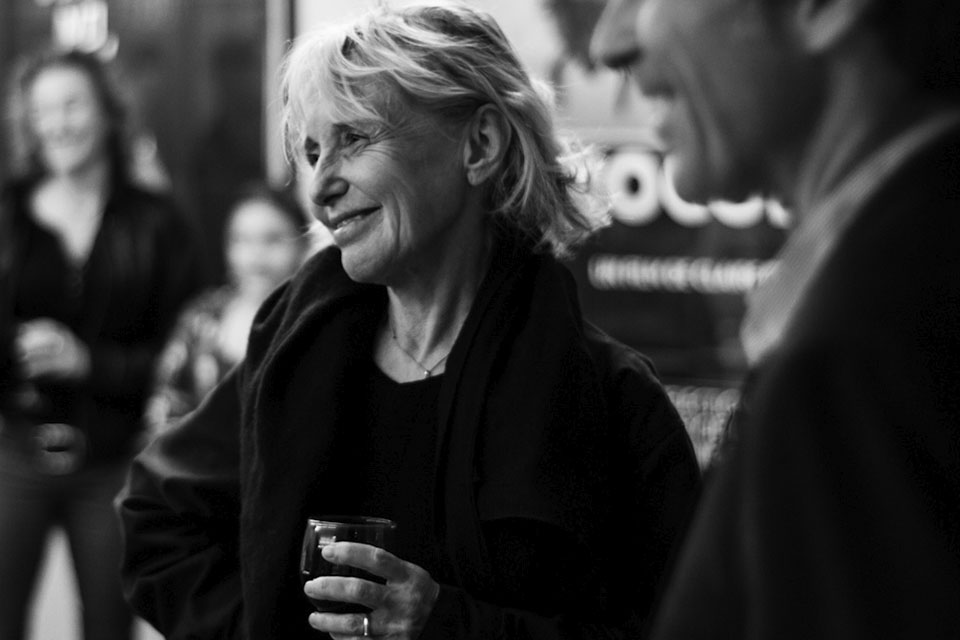 Claire Denis at a reception Founding Director Jon Vickers and IU Cinema guests