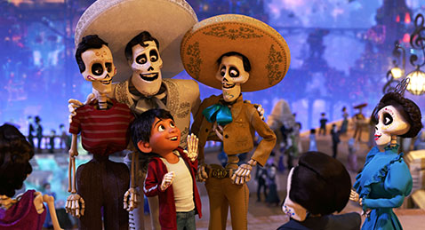 still image from the film Coco of animated skeletons