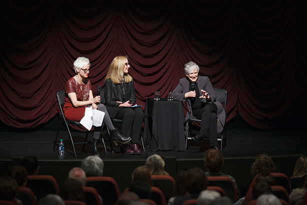 Glenn Close on stage with Indiana university Faculty at IU Cinema.