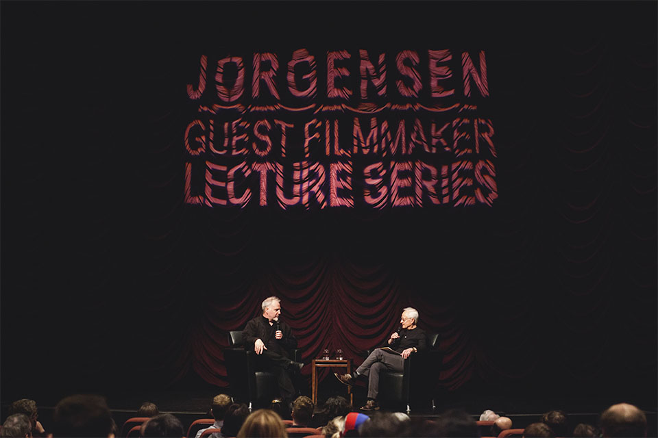 Guy Maddin on stages during his Jorgensen Guest Filmmaker series event at IU Cinema