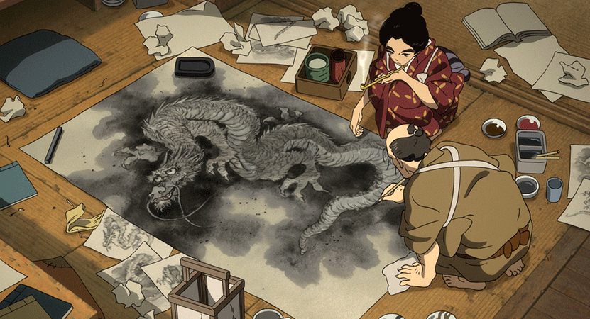 illustration of a women drawing from the film Miss Hokusai.