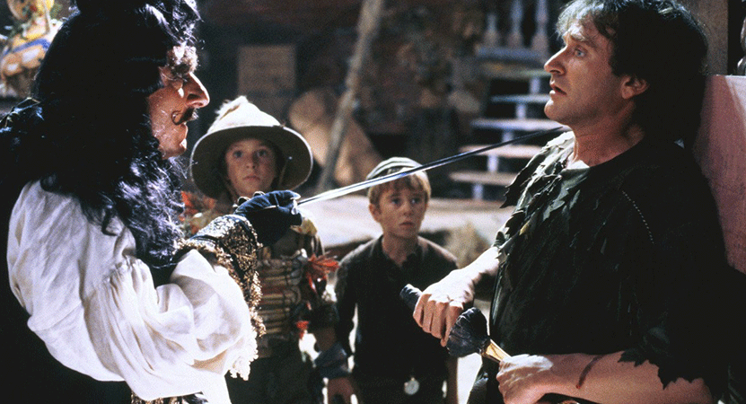 Captain Hook an Peter Pan face off from the film Hook.