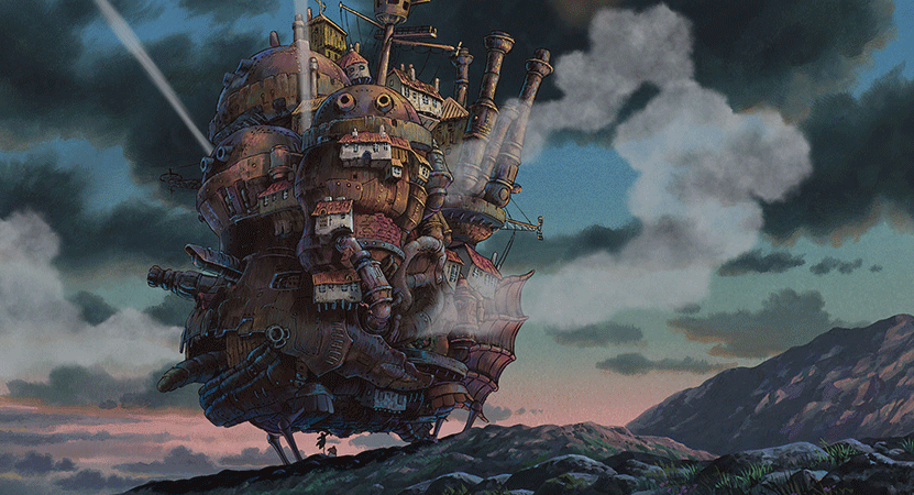 a animated still of a floating ship from the film Howl's Moving Castle.