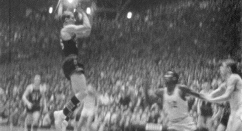 Still image from IHSAA State Basketball Finals, 1954.