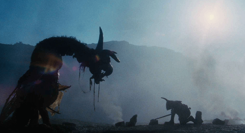 a person battles a monster from the film Jabberwocky