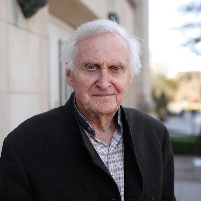John Boorman poses for a photo in front of IU Cinema.