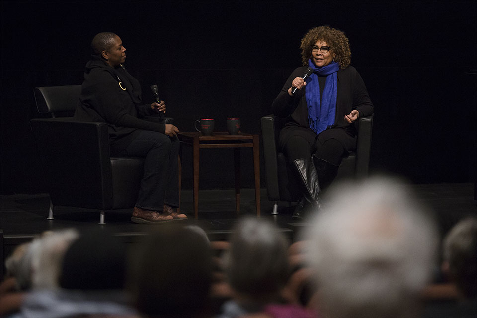 Julie Dash on stage during her Jorgensen Guest Filmmaker series event.