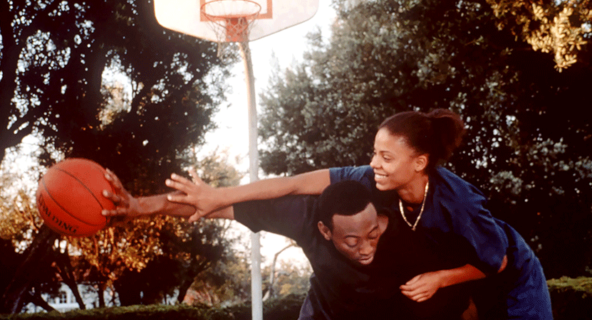 a couple play basketball from the film Love & Basketball