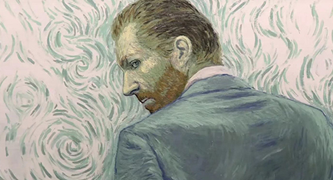 Still painted image of Vincent van Gogh from the film Loving Vincent.