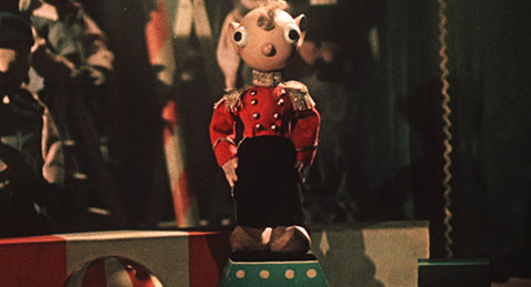 still image of a wooden doll from the shorts program Masterly Tales: The Animated Short Films of Jiří Trnka.