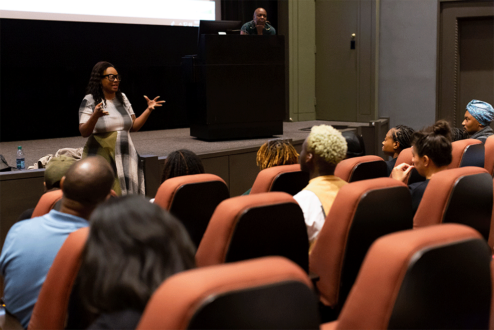 Numa Perrier speaks with guests during her master class at IU Cinema.