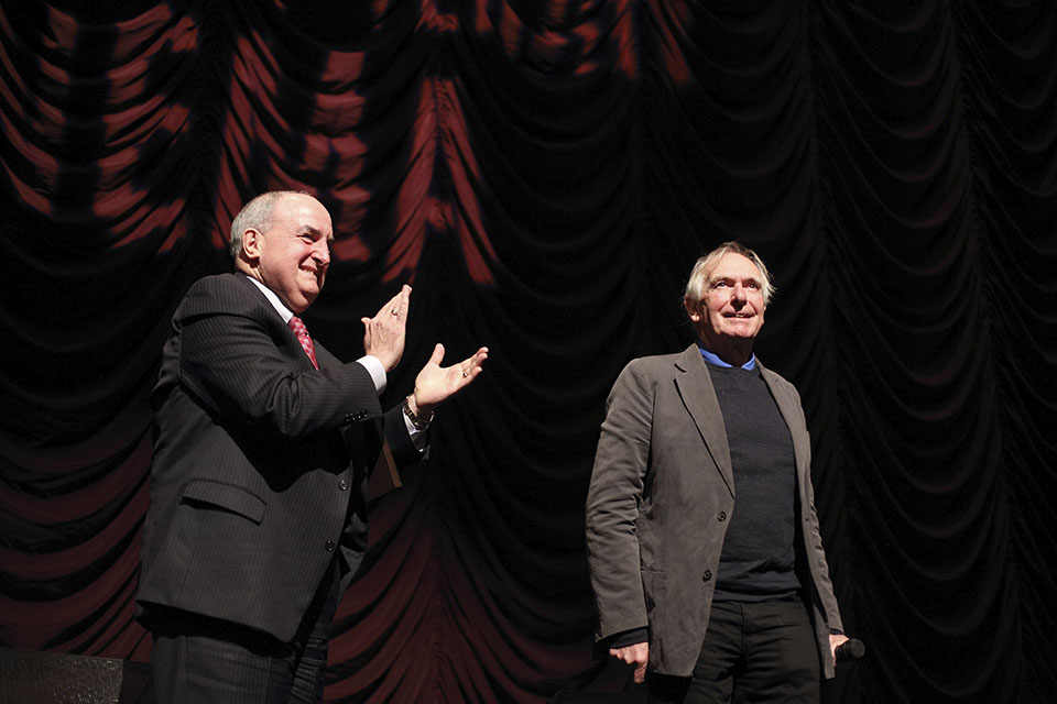 Peter Weir and Indiana University President Michael A. McRobbie onstage at IU Cinema.
