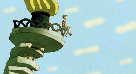Still image from Phantom Boy.
