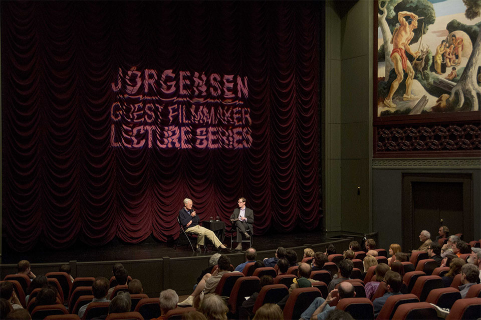 Roger Corman with PhD student  David Church onstage at IU Cinema.