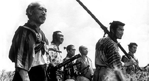 Still image from Seven Samurai.