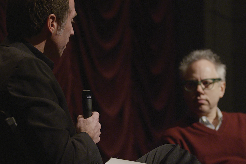 Todd Solondz and Founding Director Jon Vickers onstage at IU Cinema.