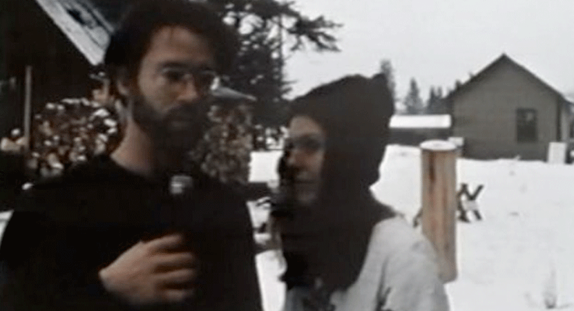 a man and women stand out in the snow from the film Speaking Directly